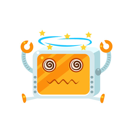 dizzy: Dizzy Little Robot Character Simple Flat Vector Icon In Childish Cute Style Isolated On White Background Illustration