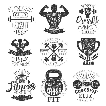 hardcore: Vintage Gym Fitness Stamp Collection Of Monochrome Vector Design Labels On White Background Illustration