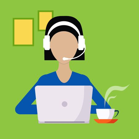 lap top: Woman With Hands Free And Lap Top Working Freelance Flat Vector Illustration In Bright Colorful Simplified Infographic Style Illustration