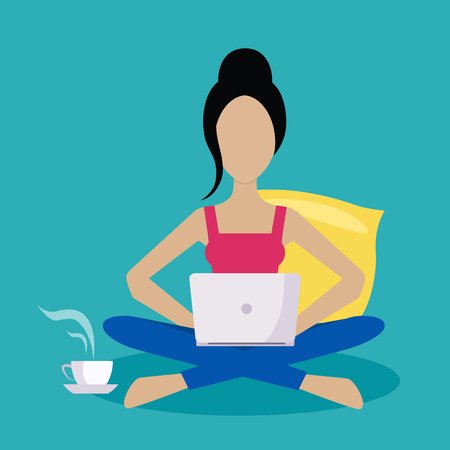 lap top: Girl Sitting At Home Working Freelance Flat Vector Illustration In Bright Colorful Simplified Infographic Style