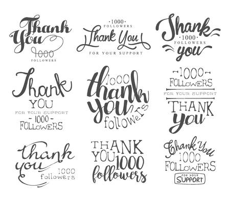 admirers: Thanking Cards For The Social Media Followers Set Of Monochrome Vector Design Stickers On White Background Illustration