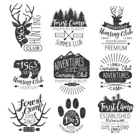 established: Vintage Forest Stamps Collection Of Monochrome Vector Design Labels On White Background