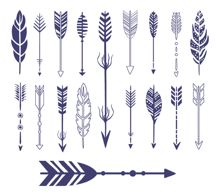 quills: Quills And Arrows Graphic Collection Flat Vector Icons In Cool Doodle Style Illustration