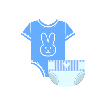nappy: Body And Nappy For Baby Flat Simple Cute Style Cartoon Design Vector Illustration Isolated On White Background