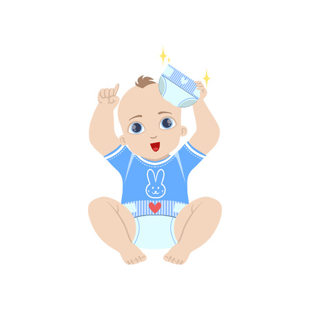 nappy: Baby In Blue Holding Fresh Nappy Flat Simple Cute Style Cartoon Design Vector Illustration Isolated On White Background Illustration