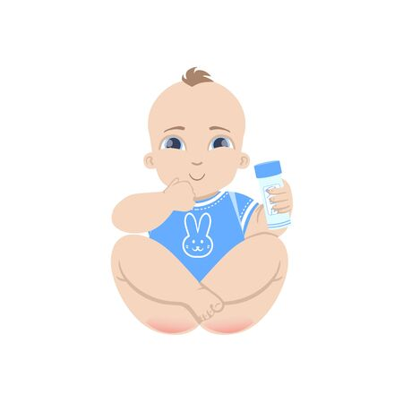small butt: Baby In Blue Holding Baby Powder Flat Simple Cute Style Cartoon Design Vector Illustration Isolated On White Background