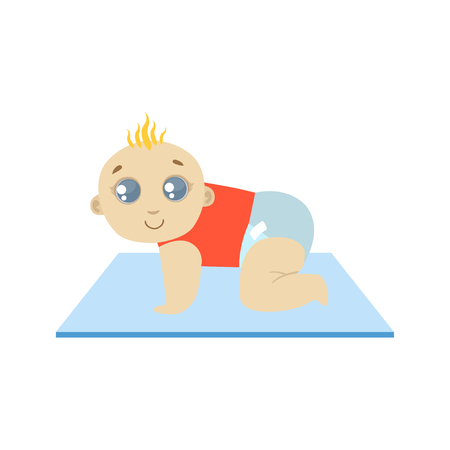crawling baby: Baby In Red Crawling Flat Simple Cute Style Cartoon Design Vector Illustration Isolated On White Background