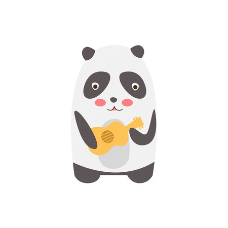 childish: Panda Playing Guitar Creative Funny And Cute Flat Design Vector Illustration In Simplified Mulicolor Style On White Background