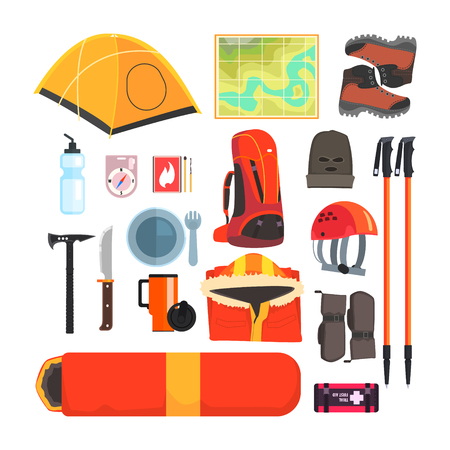sleeping bags: Mountain Camping Equipment Set Of Colorful Flat Isolated Vector Items On White Background