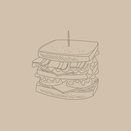 Drawn Club Sandwich mano fresca in bianco e nero Vector Contour Sketch