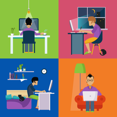 lap top: Men Working Freelance Illustration Set Set Of Flat Vector Illustrations In Bright Colorful Simplified Infographic Style Illustration