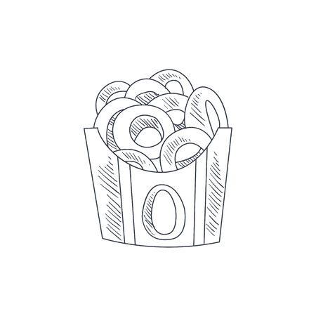 onion rings: Onion Rings Hand Drawn Cool Monochrome Vector Contour Sketch