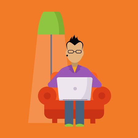 lap top: Man In The Armchair Working Freelance Flat Vector Illustration In Bright Colorful Simplified Infographic Style