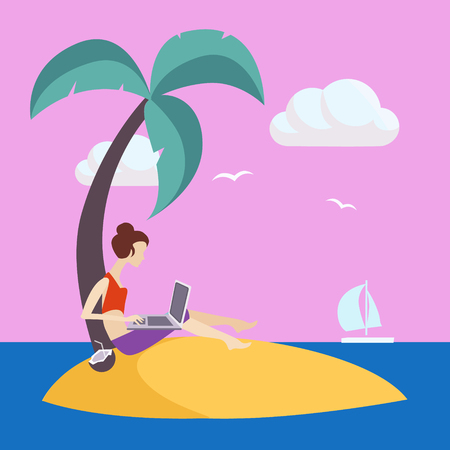 lap top: Girl On Small Island Working Freelance Flat Vector Illustration In Bright Colorful Simplified Infographic Style Illustration