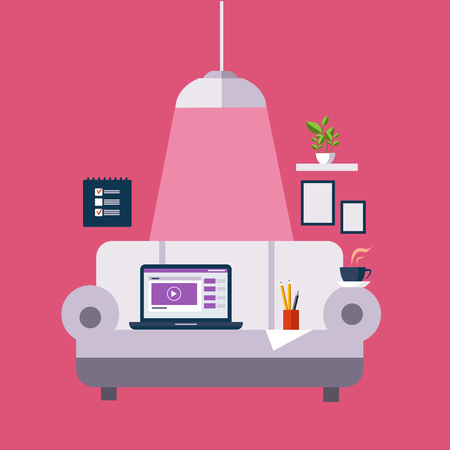 pendant lamp: Freelance Office On The Sofa Flat Vector Illustration In Bright Colorful Simplified Infographic Style Illustration