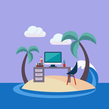 small office: Home Office On The Small Island Flat Vector Illustration In Bright Colorful Simplified Infographic Style Illustration