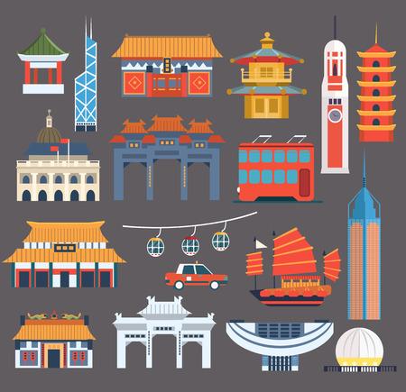 중국어 상징 랜드 마크 컬렉션에서 간체 플랫 벡터 화려한 디자인 회색 배경