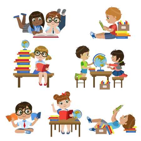 school boys: Kinds In Library Set Of Colorful Simple Design Vector Drawings Isolated On White Background