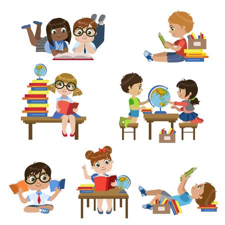 Rodzaje w bibliotece Zestaw kolorowych Proste wektora projektowania rysunków Na Białym Tle
