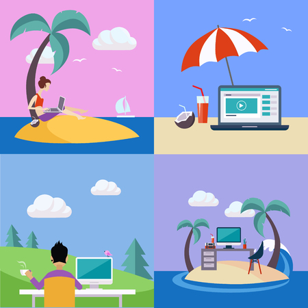 distant work: Distant Work On Holidays Illustration Set Set Of Flat Vector Illustrations In Bright Colorful Simplified Infographic Style