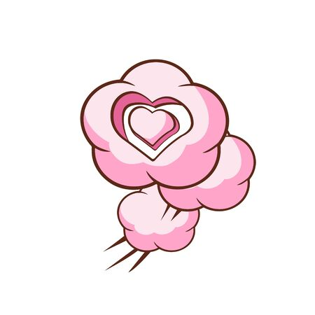 girly: Three Heart Shaped Clouds Flat Outlined Pink Cartoon Girly Style Icon On White Background