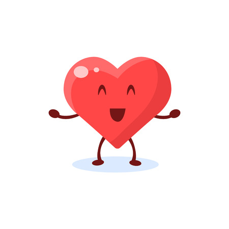insides: Heart Primitive Style Cartoon Character In Flat Childish Vector Design Illustration Isolated On White Background