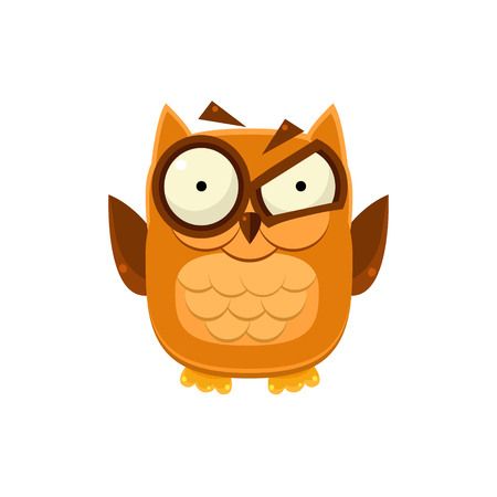 disbelief: Outraged Brown Owl Adorable Emoji Flat Vector Caroon Style Isolated Icon Illustration