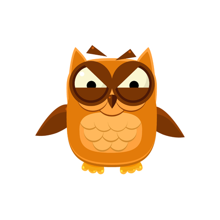 furious: Furious Brown Owl Adorable Emoji Flat Vector Caroon Style Isolated Icon Illustration