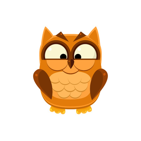 Cross-eyed Brown Owl Adorable Emoji Flat Vector Caroon Style Isolated Icon