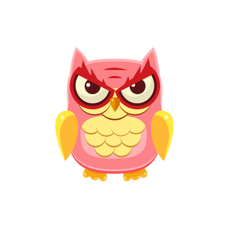 mischievous: Mischievous Pink Owl Adorable Emoji Flat Vector Caroon Style Isolated Icon Illustration