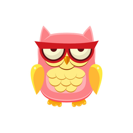 moody: Moody Pink Owl Adorable Emoji Flat Vector Caroon Style Isolated Icon