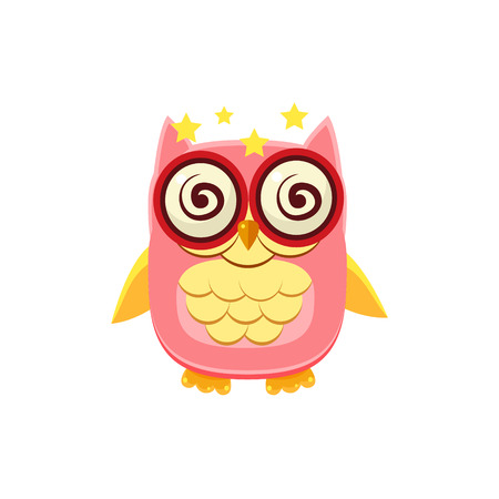 dizzy: Dizzy Pink Owl Adorable Emoji Flat Vector Caroon Style Isolated Icon Illustration