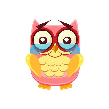 tearful: Tearful Pink Owl Adorable Emoji Flat Vector Caroon Style Isolated Icon