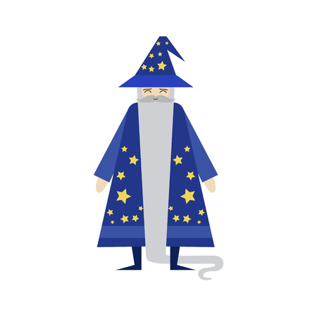 astrologer: Fairytale Wizard Flat Isolated Childish Style Simple Vector Drawing In Bright Colors On White Background