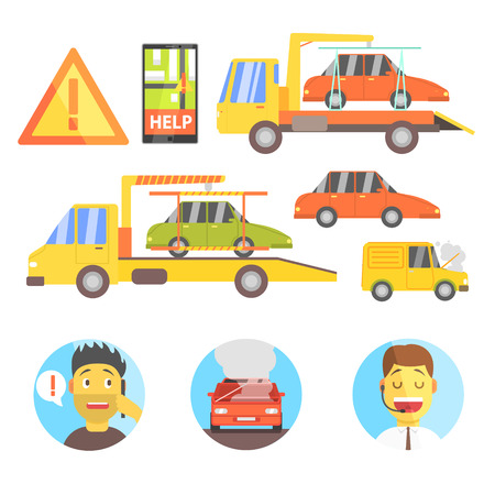 evacuating: Callin For Help Evacuating The Car Infographic Flat Simplified Multicolor Vector Illustration On White Background