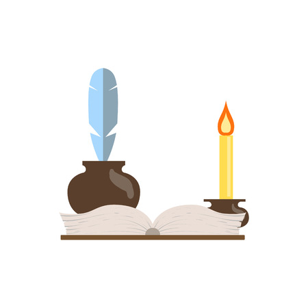 lit: Quill, Journal And Candle Flat Isolated Childish Style Simple Vector Drawing In Bright Colors On White Background
