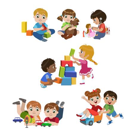 Niños jugando en interiores conjunto de coloridas diseño simple dibujos vectoriales aislados sobre fondo blanco