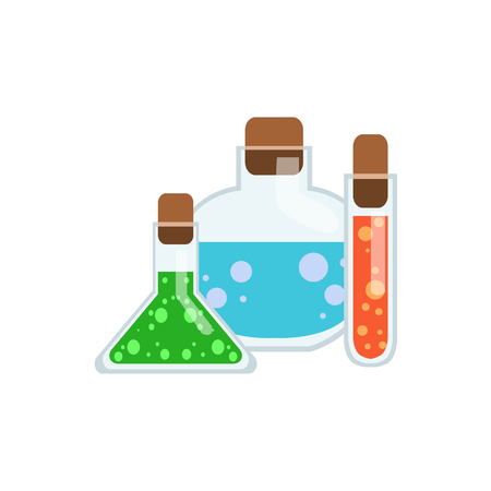 elixir: Magic Potions In Test Tubes Flat Isolated Childish Style Simple Vector Drawing In Bright Colors On White Background Illustration