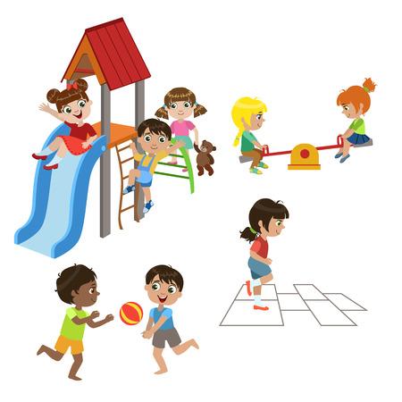 niños de diferentes razas: Niños jugando al aire libre conjunto de coloridas diseño simple dibujos vectoriales aislados sobre fondo blanco