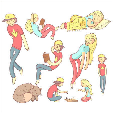 sleepiness: People Realxing Illustration Set Of Flat Outlined Pale Color Funny Drawings Isolated On White Background