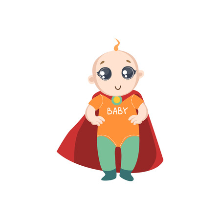 superpowers: Baby Dressed As Superhero With Red Cape Funny And Adorable Flat Isolated Vector Design Illustration On White Background