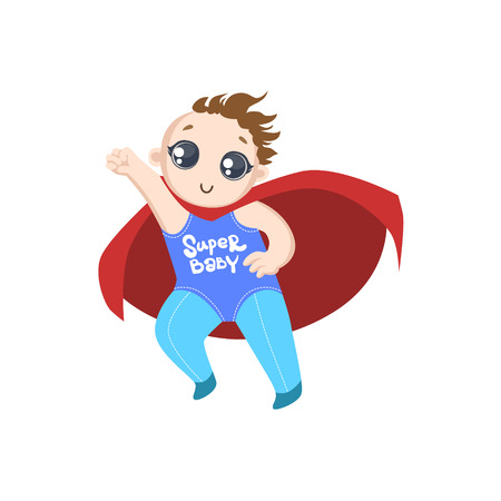dressed: Toddler Dressed As Superhero With Red Cape Funny And Adorable Flat Isolated Vector Design Illustration On White Background Illustration