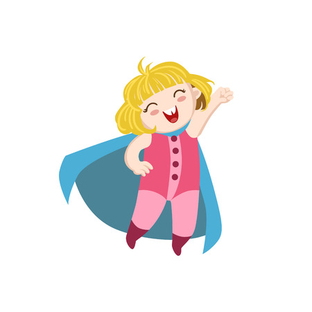 superpowers: Girl Dressed As Superhero With Blue Cape Funny And Adorable Flat Isolated Vector Design Illustration On White Background