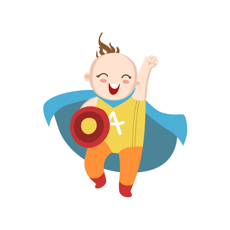superpowers: Boy Dressed As Superhero With Shield Funny And Adorable Flat Isolated Vector Design Illustration On White Background