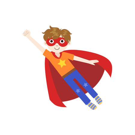 superpowers: Kid In Superhero Costume Flying Funny And Adorable Flat Isolated Vector Design Illustration On White Background Illustration