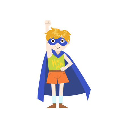 superpowers: Kid In Superhero Costume With Blue Cape Funny And Adorable Flat Isolated Vector Design Illustration On White Background