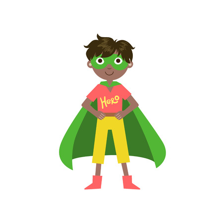 superpowers: Kid In Superhero Costume With Green Cape Funny And Adorable Flat Isolated Vector Design Illustration On White Background