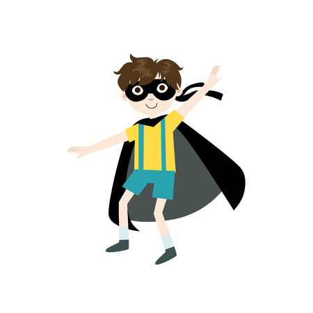 superpowers: Kid In Superhero Costume With Black Cape Funny And Adorable Flat Isolated Vector Design Illustration On White Background