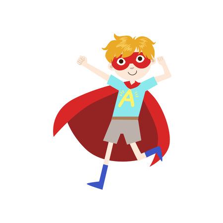 avenger: Niño en traje de superhéroe con Cabo Rojo divertido y adorable plana aislada de diseño vectorial Ilustración sobre fondo blanco