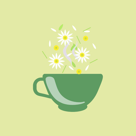 chamomile tea: Chamomile Tea In Green Cup Flat Bright Color Simplified Vector Drawing On Beige Background